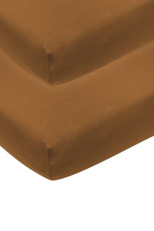 Hoeslaken   camel   2 pack   ledikant