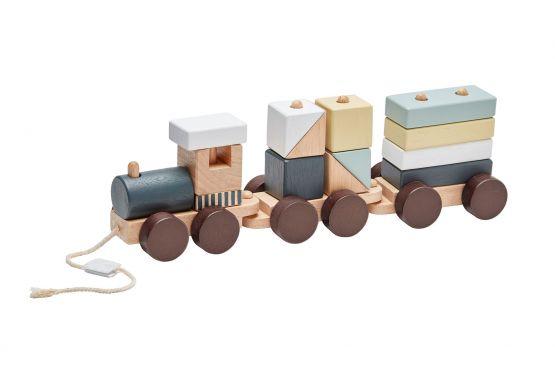 Kids Concept   Houten trein met blokken - naturel